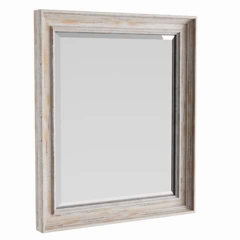 The Gray Barn Autumn Avenue Medium White Wash Bathroom Mirror, 21 x 25