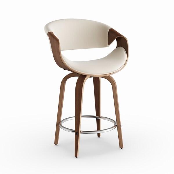 Strick & Bolton Blakey 24-inch Mid-century Modern Walnut Wood and Fabric Counter Stool