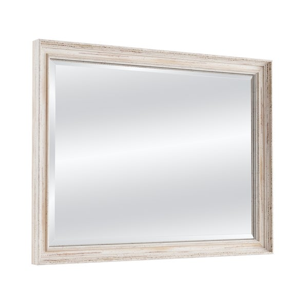The Gray Barn Autumn Avenue Oversized Large White Wash Bathroom Mirror - 35.12 x 45.12 x 1.971 inches deep