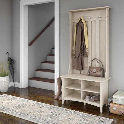 "The Gray Barn Lowbridge Hall Tree with Storage Bench in Antique White - 31.73""L x 15.75""W x 68.12""H"