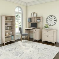 The Gray Barn Lowbridge Mission Desk with Hutch, Lateral File Cabinet and 5 Shelf Bookcase in Antique White
