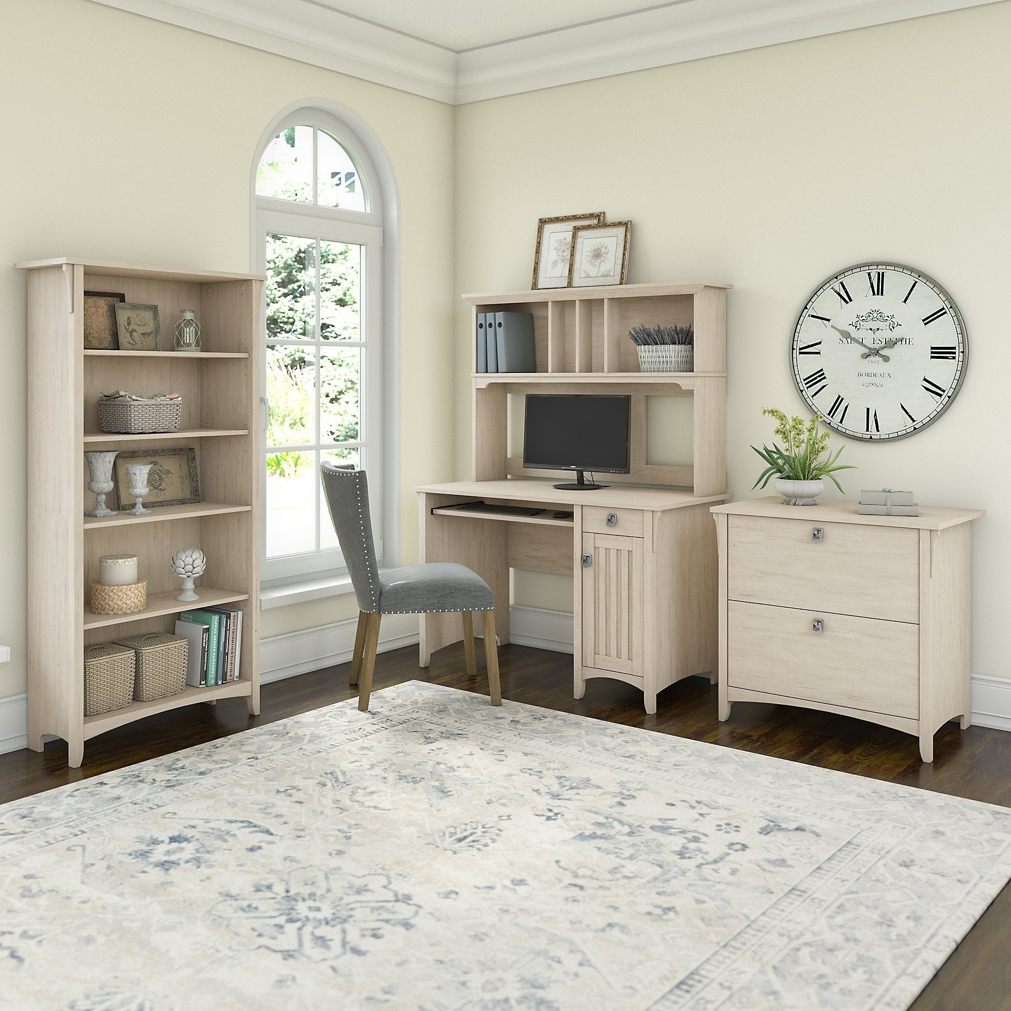 The Gray Barn Lowbridge Mission Desk With Hutch Lateral File Cabinet And 5 Shelf Bookcase In Antique White