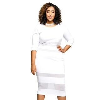 Xehar Womens Plus Size Sexy Mesh Striped Bodycon Midi Party Dress
