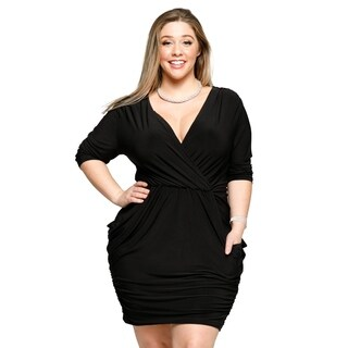Xehar Womens Plus Size Sexy Surplice V-Neck Short Party Ruched Dress