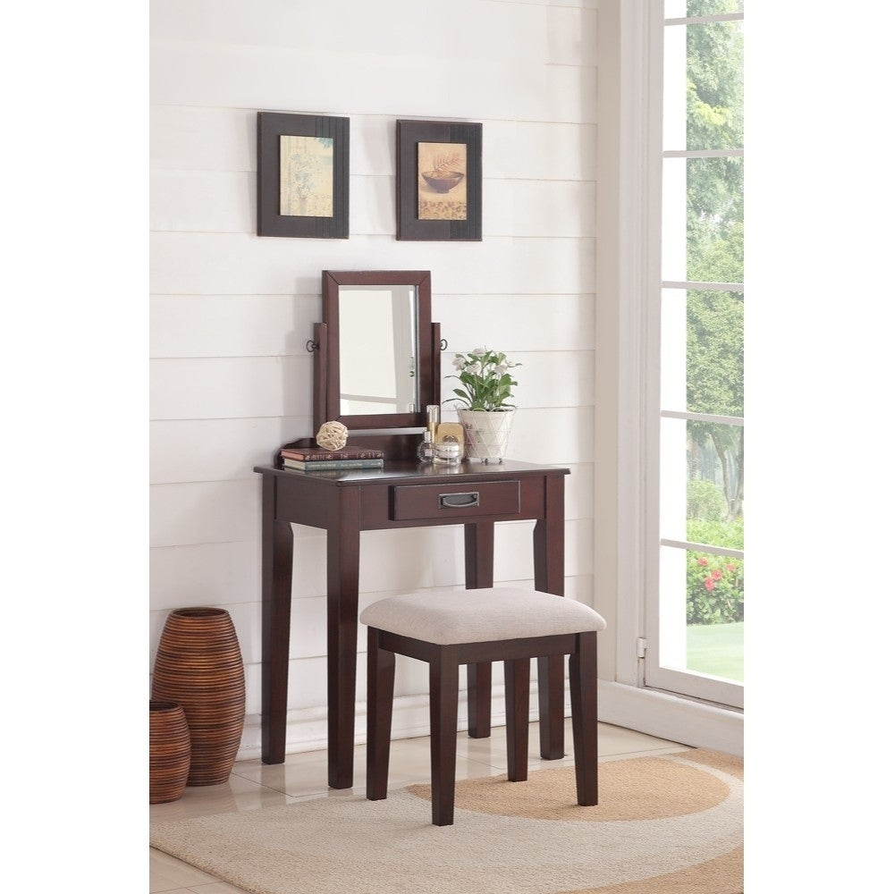 Wooden Vanity Set With Rotating Mirror and Stool, Espresso Brown