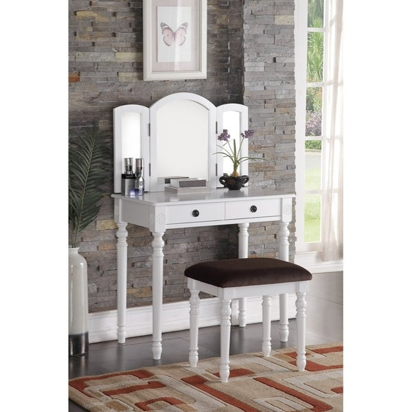 Wooden 3 Panel Mirror Vanity Set With 2 Drawers Stool