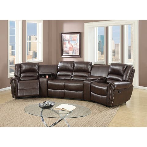 Bonded Leather Motional Home Theater 5 Piece Sectional Brown