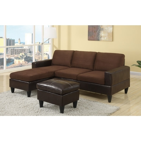 Shop Microfiber Faux Leather All In One Sectional With Ottoman