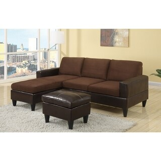 Microfiber/Faux leather All In One Sectional With Ottoman, Chocolate Brown