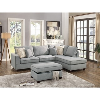 Dorris Fabric 3 Piece Sectional With Storage Ottoman, Light Gray
