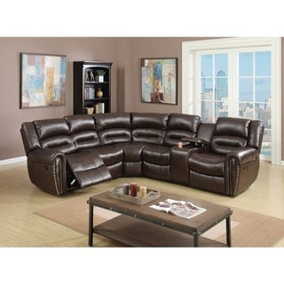 Charmant Bonded Leather 3 Piece Reclining Sectional, Brown