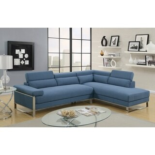 Polyfiber 2 Piece Sectional On Metal Base, Blue