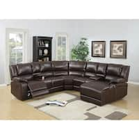 Bonded Leather 5 Pieces Reclining Sectional In Brown