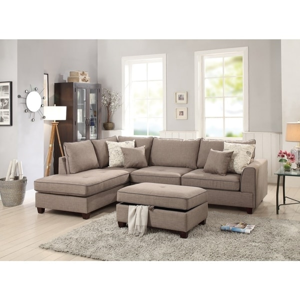 Dorris Fabric 3 Piece Sectional With Storage Ottoman, Light Brown