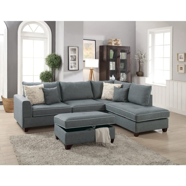 Dorris Fabric 3 Piece Sectional With Storage Ottoman Gray