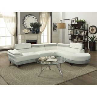 Polyurethane 2 Piece Sectional With Adjustable Headrest White And Gray