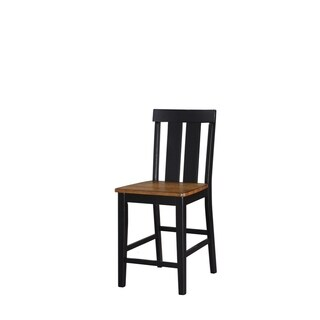 Rubber Wood High Chair, Black & Brown, Set of 2