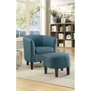 Dorris Fabric Accent Chair with Ottoman In Dorris Fabric, Blue