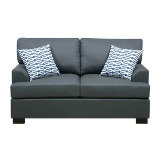 Linen Fabric Loveseat In Blue With 2 Pillows
