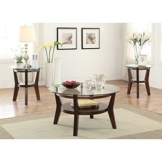 Wooden Occassional 3 Piece Table Set With Round Glass Top, Brown