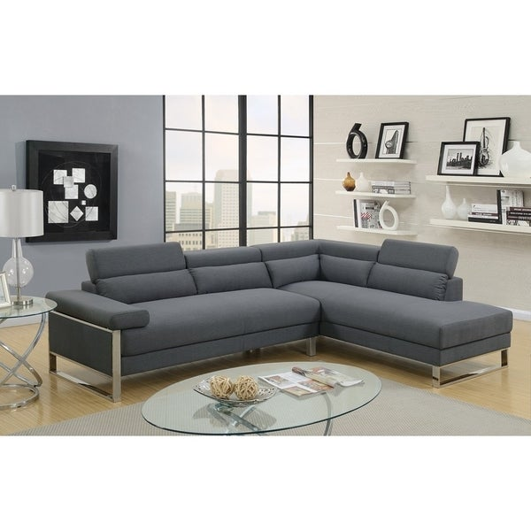 Marvelous Polyfiber 2 Piece Sectional Sofa On Metal Base, Charcoal Gray