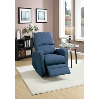 Swivel Recliner Chair In Navy Polyfiber Fabric Blue