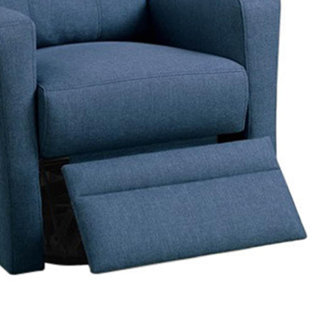 Swivel Recliner Chair In Navy Polyfiber Fabric Blue