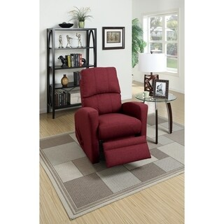 Swivel Recliner Chair In Carmine Polyfiber Fabric Red