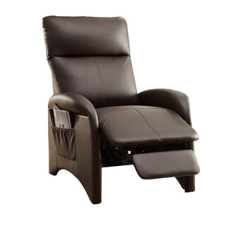 Modish Recliner With High Back and Side Pocket In Espresso Brown