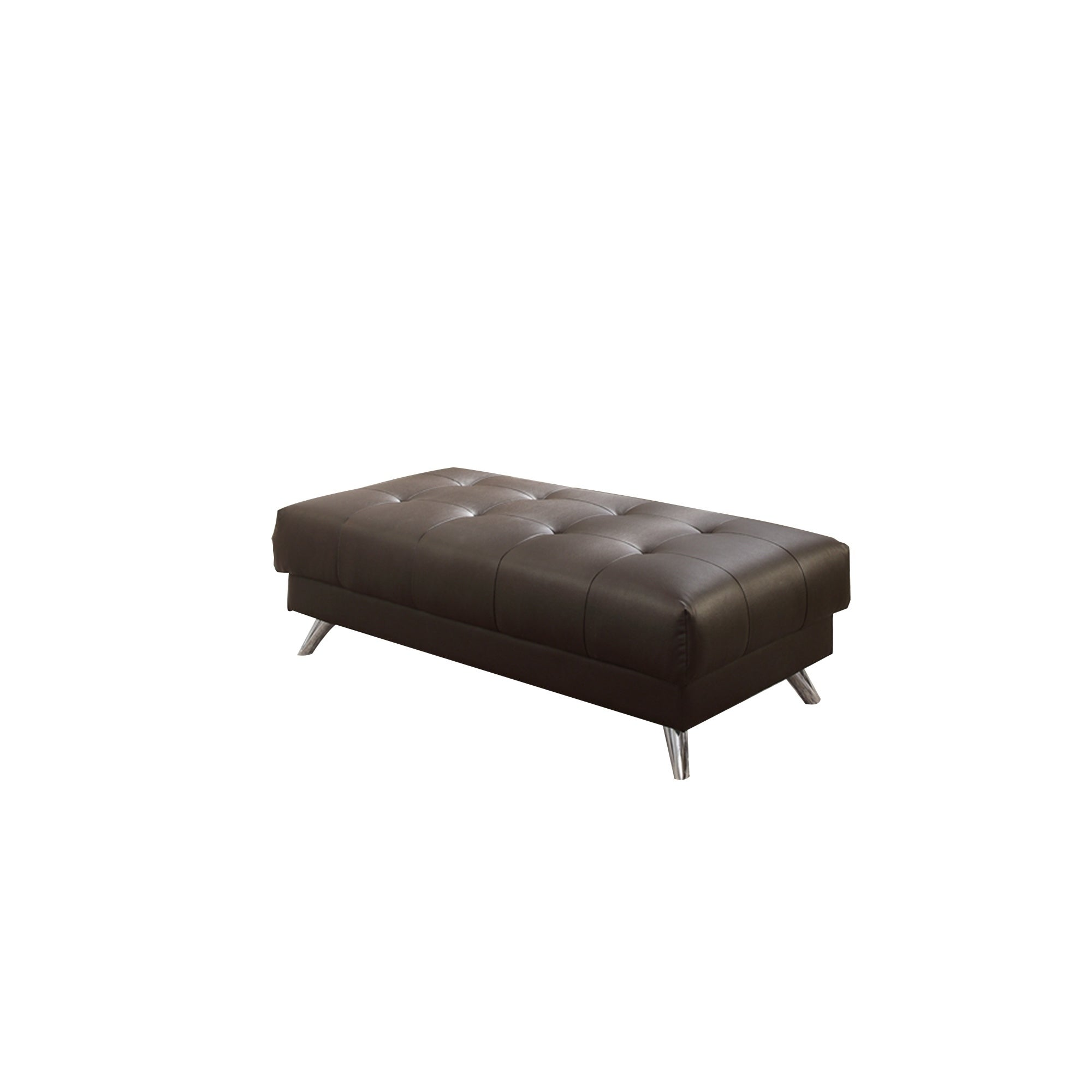 Miraculous Bonded Leather Ottoman In Espresso Brown With Chrome Legs Theyellowbook Wood Chair Design Ideas Theyellowbookinfo