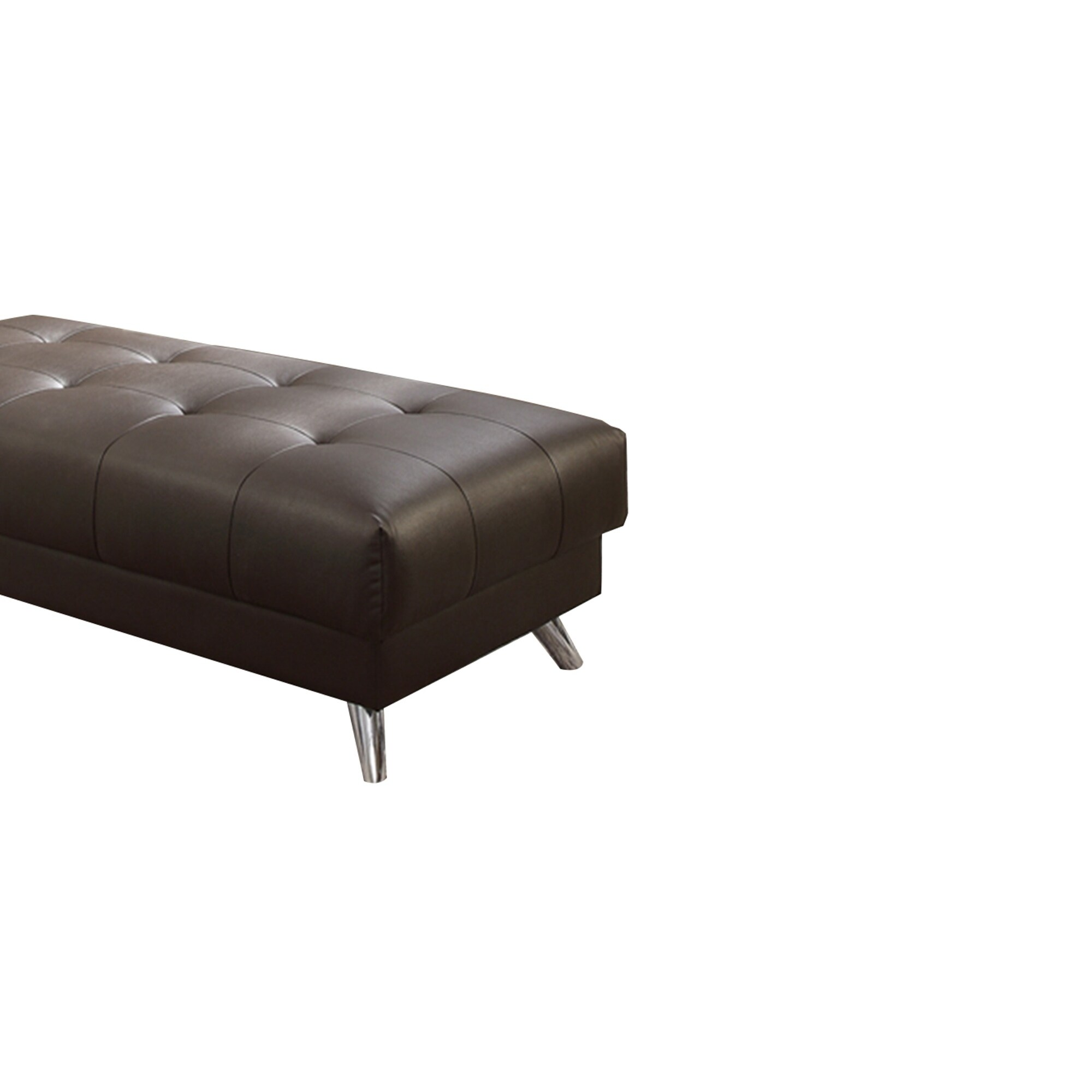 Pleasant Bonded Leather Ottoman In Espresso Brown With Chrome Legs Theyellowbook Wood Chair Design Ideas Theyellowbookinfo
