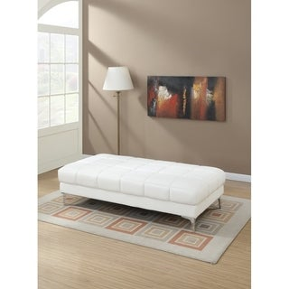 Modish Bonded Leather Ottoman In White