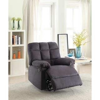 Plush Cushioned Recliner With Tufted Back And Roll Arms In Gray