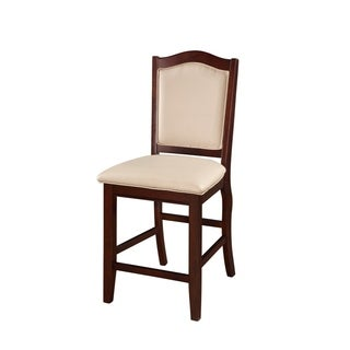 Wooden Armless Counter Height Chair, Espresso Brown & Cream, Set of 2