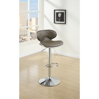 Modish Bar Stool With Gas Lift Espresso Brown And Silver Set of 2