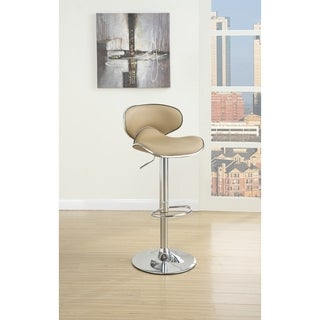 Modish Bar Stool With Gas Lift Brown And Silver Set of 2