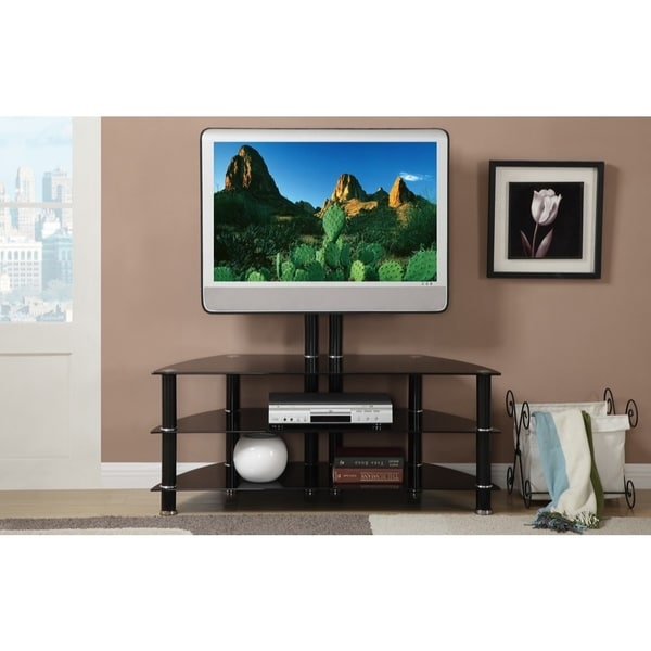 Metal & Glass TV Stand With adjustable Height & 3 Shelves, Black