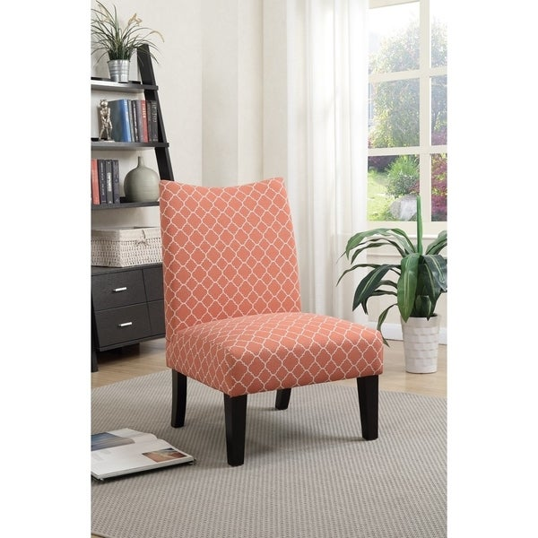 Polyster Fabric Accent Chair In Patterned Fabric, Orange