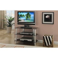 Metal & Glass TV Stand, With 3 Shelves, Black & Silver