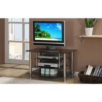 Metal & Glass TV Stand, With 4 Shelves, Black & Silver