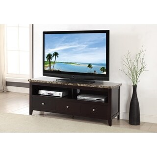 Wood & Marble TV Stand With 3 Drawers and 2 Shelves, Espresso Brown
