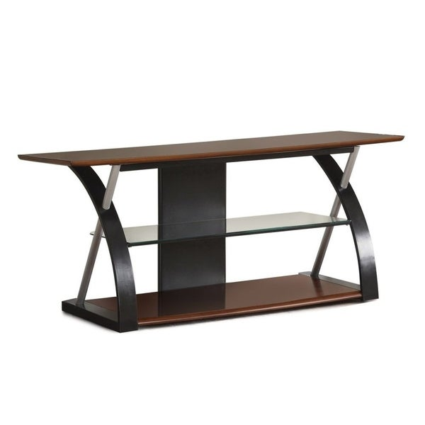 Shop Wooden Tv Stand With 1 Glass Shelf Brown Black Free