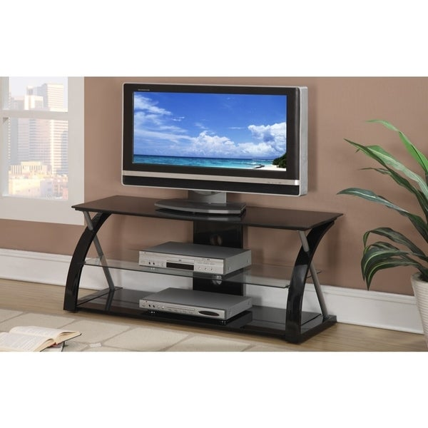 Metal TV Stand With 3 Glass Shelves, Black