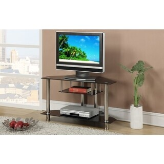 Metal & Glass TV Stand, With Shelves, Black & Silver