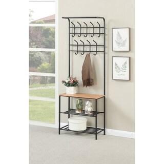 Metal Coat Rack With 3 Shelves In Black