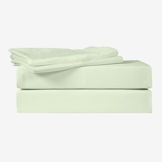 Just Linen 400 Thread Count 100% Egyptian Quality Cotton Sateen, Solid Bedding Sheet Set with Deep Pocketed Fitted Sheet