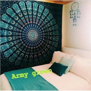 Boho Style Handmade Tapestry Wall Hanging Blanket Art Wall Decor for Living Room/Bedroom 59*51 inch (Option: Army Green)