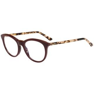 Dior Round Montaigne 41 CIV Women Burgundy Havana Frame Eyeglasses