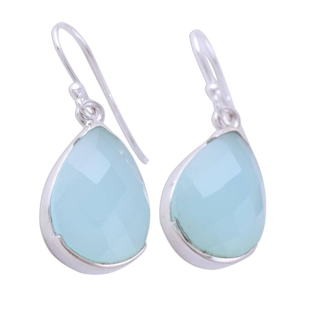 Rare Natural Aqua Chalcedony Earrings 925 Sterling Silver Earrings Teardrop Silver Bezel Set Gemstone Earrings Gift Idea For Her