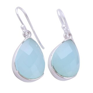Link to Handmade Sterling Silver 'Aqua Drops' Chalcedony Earrings (India) Similar Items in Earrings